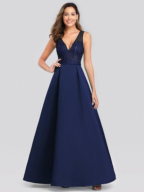 Tmavo modré spoločenské šaty 0839