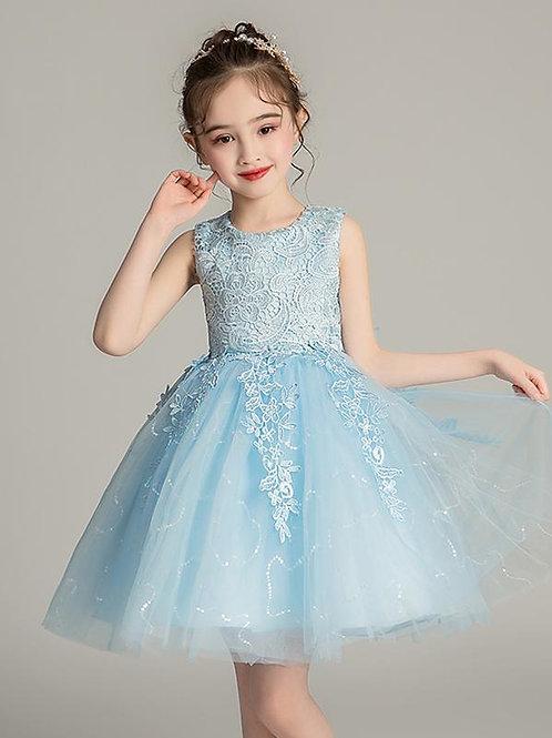 Modré krajkové dievčenské šaty EP