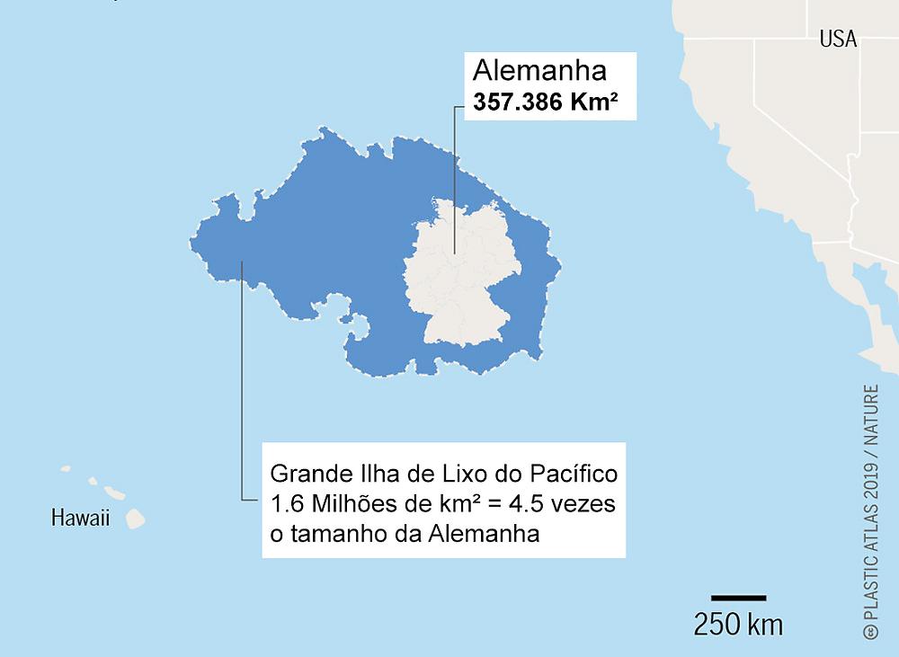 Comparação entre o tamanho da grande ilha de lixo do pacífico e o tamanho da Alemanha. A ilha de lixo equivale a 4.5x o tamanho da Alemanha