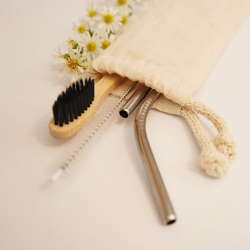Kit Canudos de Aço e Escova de Bambu