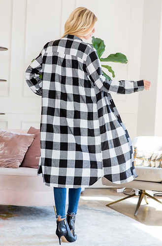Plaid Flannel Duster with Pockets