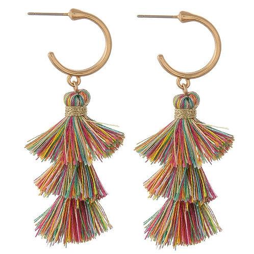 Multicolor Tassel Drop Hoop Earrings