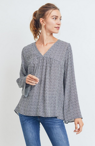 Printed V-neck Babydoll Top with Flare Sleeves