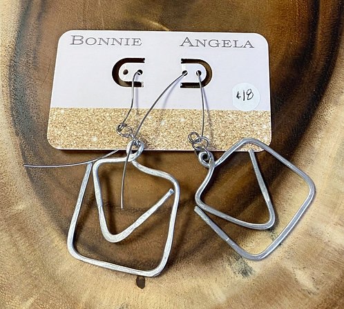 Silver Square and Triangle Hammered Metal Earrings