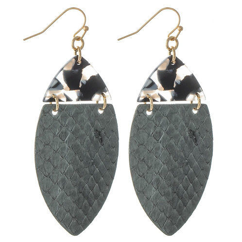 Resin Link Faux Leather Animal Print Oval Drop Earrings