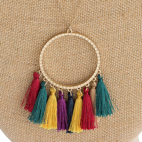 Gold Circle Pendant Necklace with Fan Tassels