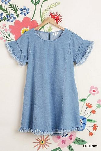 Frayed Hem Denim Dress with Pockets