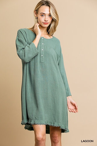Button Smock Dress with Ruffle Frayed Hem