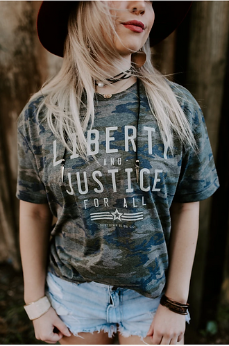 Southern Bliss Liberty & Justice Camo Tee