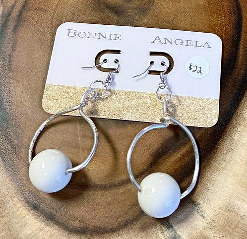 Silver Circle Beaded Earrings