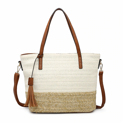 Tote with Vegan Leather Trim