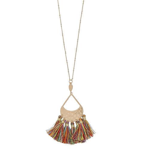 Fringe Tassel Pendant Necklace Multi