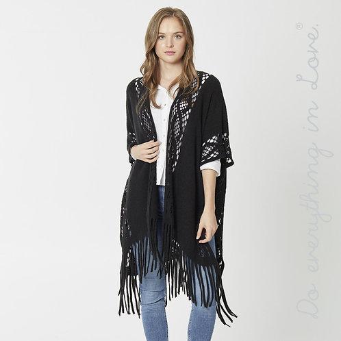 Open Knit Fringe Tassel Kimono