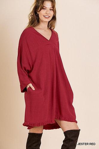 Smocked V-Neck Ruffle Hem Dress