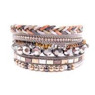 Metallic Mixed Braided Stack Bracelets