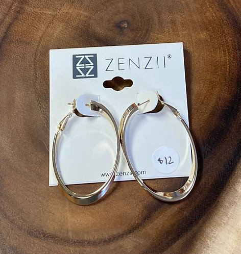Gold Metal Oval Hoops