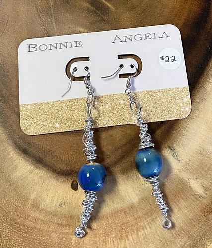 Silver Metal Wrapped Blue Bead Earrings