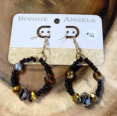 Dark Natural Beaded Circle Earrings