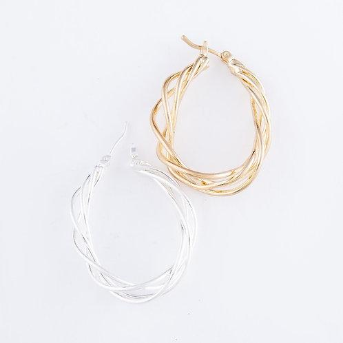 Twisted Wire Teardrop Hoop Earrings