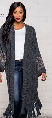 Cable Knit Fringe Duster