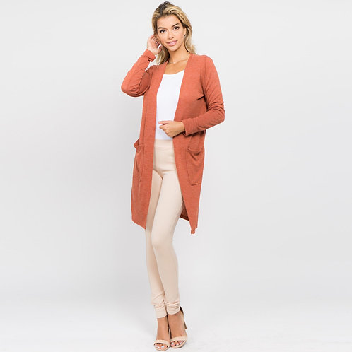Solid  Fall Color Knit Cardigan