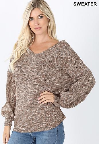 Wide Neck Balloon Sleeve Sweater