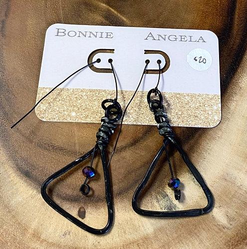 Black Triangle & Beaded Metal Earrings