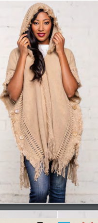 Side Button Hooded Poncho