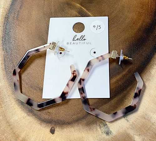 Open Octagon Ivory Tortoise Resin Hoops