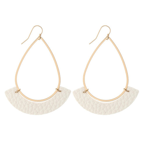 Gold Teardrop Earrings with Faux Leather Accent