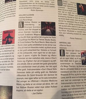 Hollow Illusion- Great Review at Scream Magazine, Norway.