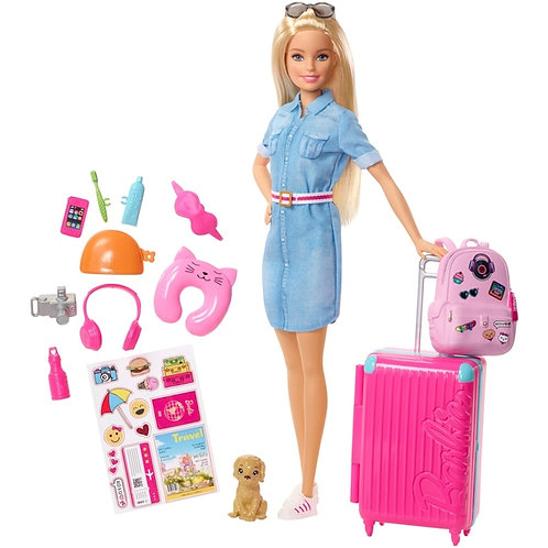 Mattel Travel Barbie Doll & and Accessories Suitcase Dog