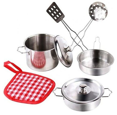 Kitchen Accessory Set 8 Piece Pots and Pans Playset Stainless Steel Pretend Play