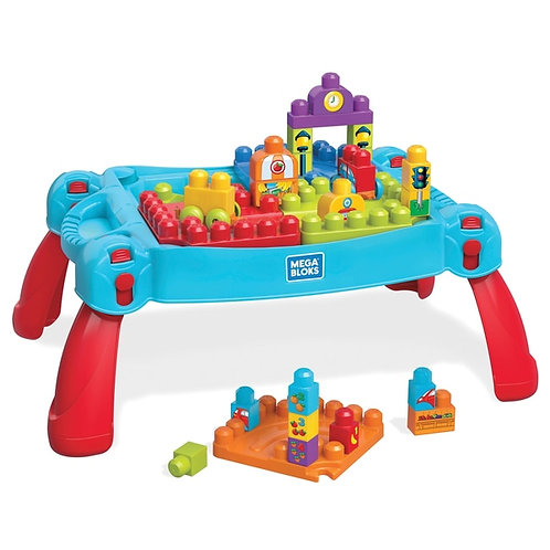 Mega Bloks Blocks Build and& Learn Table Classic Blue Red