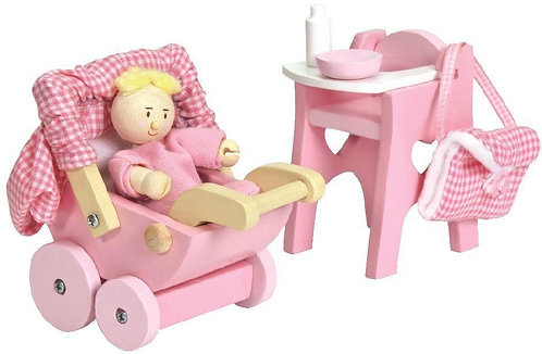 Wooden Nursery Set & Baby for Dolls House