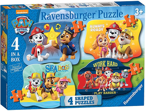 Paw Patrol 4 in a Box Shaped Jigsaw Puzzles 6979