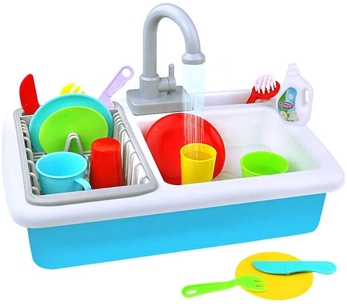 Kids Toy Wash-Up Kitchen Sink with Running Water (Automatic Water Cycle) Role Play