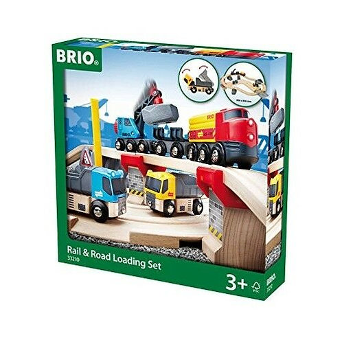 Brio World - Rail & Road Loading Set 33210 Wooden Railway Train