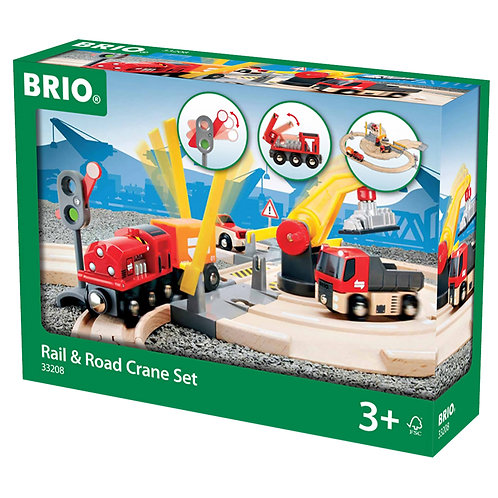Brio 33208 Rail & Road Crane Set Wooden Railway