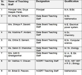 teching staff sindhudurg academy