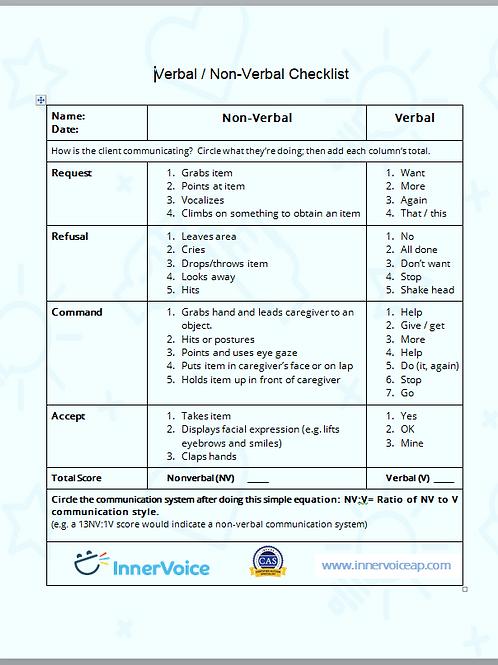 Verbal -vs- Nonverbal Checklist