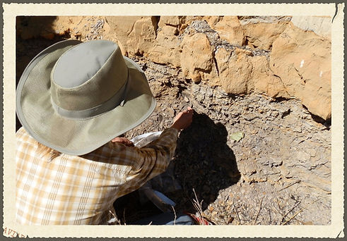 Cherylene Caver gathering raw clay for pottery