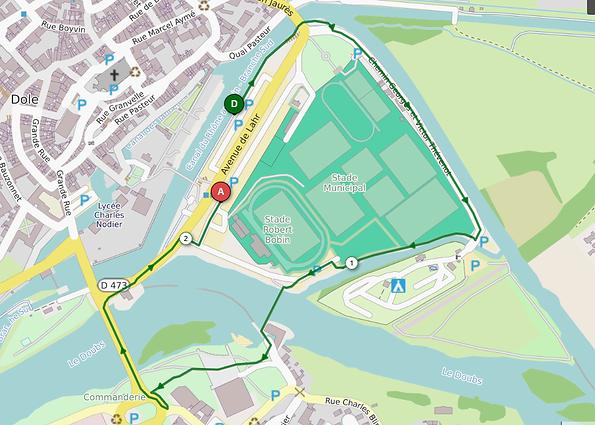 Parcours course à pied adultes XS Xefi triathlon Dole