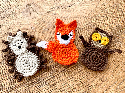 Fall Woodland Creatures Finger Puppets, set of 3