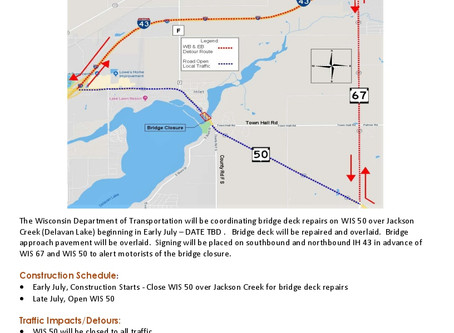 Highway 50 Bridge Construction to Start in July Date TBD