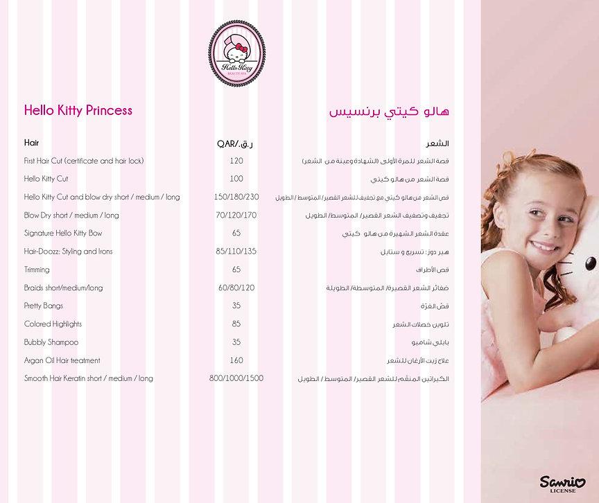 Hello Kitty Beauty Spa Doha Menu