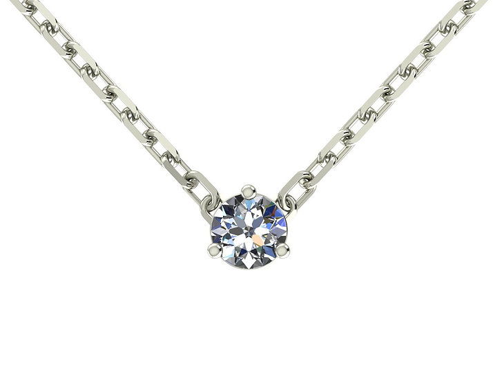 Collier FOUDRE 0,2 carat Or Blanc 375/1000