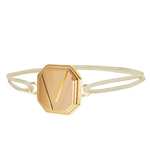 Bracelet V - Or Jaune gravable au dos