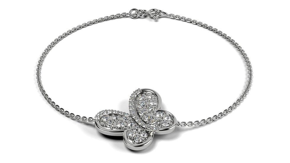 Bracelet PAPILLON 0,25 carat Or Blanc 375/1000