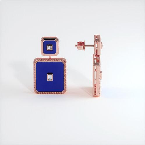 Boucles d'oreilles Vendôme V Modèle M or rose Blue
